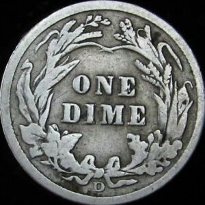 1914 D BARBER SILVER DIME   VG