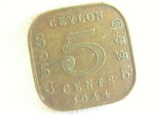 1944 CEYLON 5CENTS / GEORGE VI KING &EMPEROR OF INDIA   COIN   .N.9/28