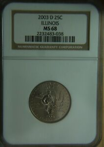 Click now to see the BUY IT NOW Price! 2003 D ILLINOIS STATEHOOD QUARTER   NGC MS68   TOP POP