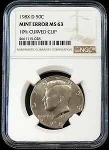 198X D KENNEDY HALF DOLLAR CERTIFIED 10  CURVED CLIP MINT ERROR MS 63 BY NGC