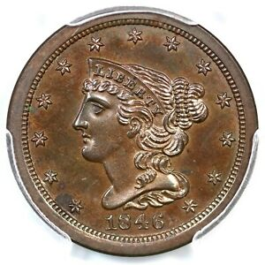 Click now to see the BUY IT NOW Price! 1846 PCGS PR 63 BN ORIGINAL CAC BRAIDED HAIR HALF CENT COIN 1/2C