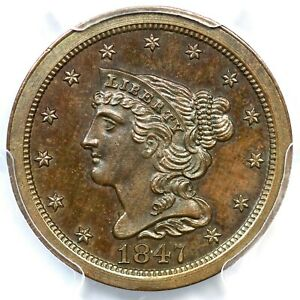 1847 PCGS PR 66 BN CAC REV OF 1840 BRAIDED HAIR HALF CENT COIN 1/2C