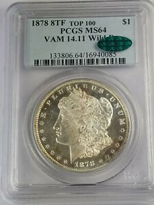 Click now to see the BUY IT NOW Price! 1878 8 TAILFEATHER MORGAN DOLLAR VAM 14.11 WILDEYE PCGS/CAC MS64