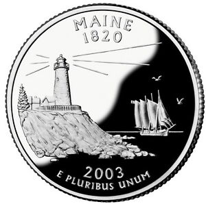 2003 S SILVER GEM PROOF MAINE STATE QUARTER 90  SILVER