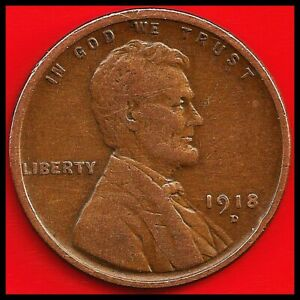 1918 D: BRN VG LINCOLN WHEAT CENT II / 101 YEARS OLD