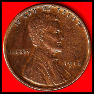 1918:  BRN VF/XF LINCOLN WHEAT CENT/ GOOD LETTERING