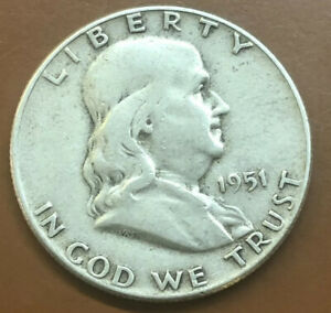 1951 P FRANKLIN SILVER HALF DOLLAR ORIGINAL US COIN 15   TCC