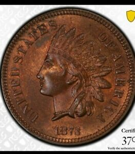 1873 CLOSED 3 DDO INDIAN HEAD CENT PCGS MS64RB SNOW 2.