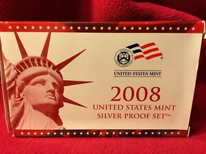2008 S UNITED STATES MINT ANNUAL 14 COIN SILVER PROOF SET W/COA