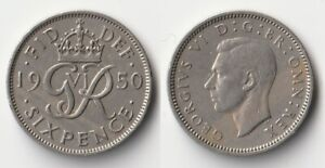 1950 GREAT BRITAIN SIXPENCE COIN