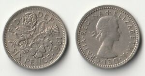 1961 GREAT BRITAIN SIXPENCE COIN