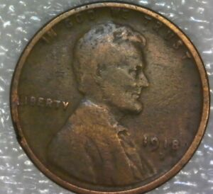 1918 D  LINCOLN WHEAT PENNY CENT DOUBLE DIE OBVERSE ERROR LAMINATION CRACK