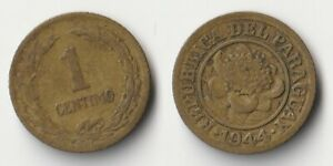 1944 PARAGUAY 1 CENTIMO COIN