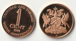 1972 TRINIDAD AND TOBAGO 1 CENT PROOF COIN