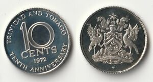 1972 TRINIDAD AND TOBAGO 10 CENTS PROOF COIN