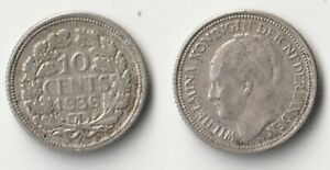 1936 NETHERLANDS 10 CENTS SILVER COIN