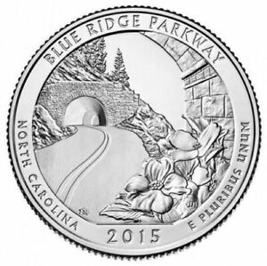 2015 BLUE RIDGE PARKWAY AMERICA THE BEAUTIFUL 5 OUNCE .999 FINE SILVER COIN
