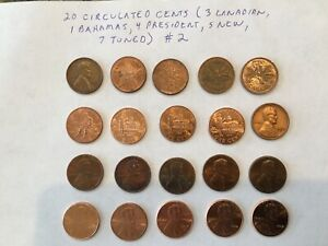 US CANADIAN CENTS LOT 20 COINS   SOME NEW SOME TONED SOME CANADIAN LINCOLN  2
