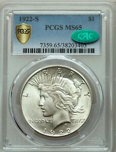 Click now to see the BUY IT NOW Price! 1922 S $1 PEACE SILVER DOLLAR  PCGS MS 65 CAC  GEM UNCIRCULATED  TRUSTED