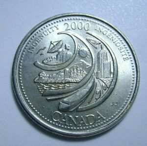 ERROR COIN: 2000 CANADA QUARTER 25 CENTS INGENUITY W/DOTS   LIGHT DIE SHIFT