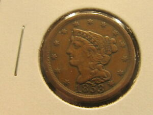 AU 1853 BRAIDED HAIR HALF CENT   MAKE A GREAT TYPE COIN    GGB