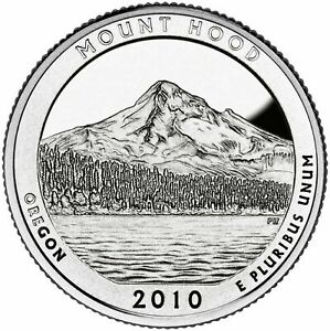 2010 D QUARTER MT HOOD NATIONAL PARK ATB MOUNT HOOD OREGON UNC