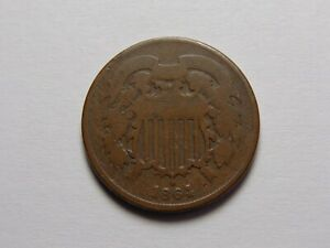 1864 CIVIL WAR TWO CENT PIECE GOOD LAMINATION ERROR MUST SEE