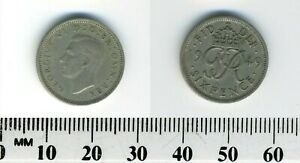 GREAT BRITAIN 1949   6 PENCE COPPER NICKEL COIN   KING GEORGE VI