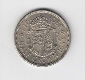 1953 HALF CROWN UNCIRCULATED FROM A UNCIRCULATED 1953 SET A NICE COIN      4279