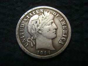 1914 BARBER SILVER DIME  XF NICE ORIGINAL COLOR MUST SEE