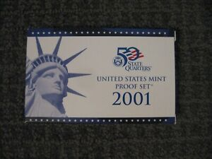 2001 UNITED STATES MINT PROOF SET 10 COIN SET MIB WITH COA