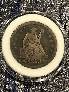 1853 SEATED LIBERTY QUARTER SILVER DOLLAR WITH ARROWS & RAYS UNGRADED