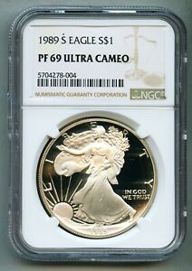 1989 S AMERICAN SILVER EAGLE DOLLAR NGC PF 69 ULTRA CAMEO  DCAM