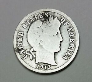 1913S BARBER LIBERTY HEAD 10 CENTS  DIME  COIN