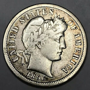 1896 S BARBER DIME F /VF   NICE STRONG COIN   GETS EXPENSIVE