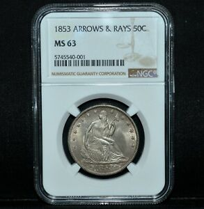 Click now to see the BUY IT NOW Price! 1853 P SEATED LIBERTY HALF DOLLAR  NGC MS 63  50C ARROWS & RAYS  TRUSTED