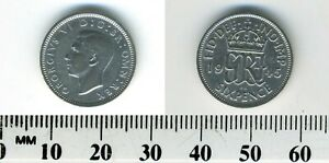 GREAT BRITAIN 1945   6 PENCE SILVER COIN   GEORGE VI   WWII MINTAGE