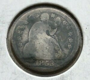 1853 SEATED LIBERTY DIME WITH ARROWS   ABOUT GOOD