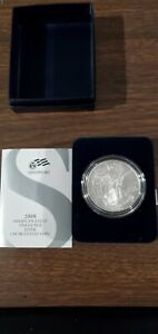 2008 W AMERICAN SILVER EAGLE UNCIRCULATED BURNISHED COLLECTORS COIN BOX & C.O.A