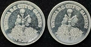 PAIR OF CANADA 1982 VICTORIA BC EMPRESS OF JAPAN TRADE DOLLAR COINS   9975D