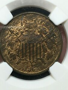 1864/1864 LARGE MOTTO 2 CENT NGC MINT ERROR RAISED LAMINATION MS 62 BN VP 007