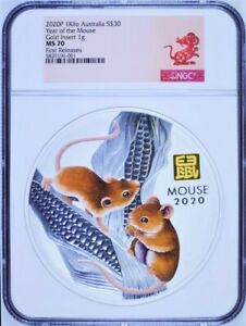 Click now to see the BUY IT NOW Price! 2020 LUNAR YEAR OF THE MOUSE 1 KILO SILVER $30 COIN NGC MS70 W/ GOLD PRIVY MARK