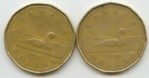 CANADA 1989 1990 LOONIES LOONIE CANADIAN ONE DOLLAR 1 COIN $1 EXACT COINS
