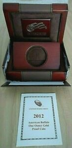 2012 W $50 1OZ PROOF GOLD AMERICAN BUFFALO BOX AND COA ONLY; NO COIN INCLUDED