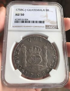 Click now to see the BUY IT NOW Price! NGC AU50 GUATEMALA 1758G J SILVER COIN 8 REALES