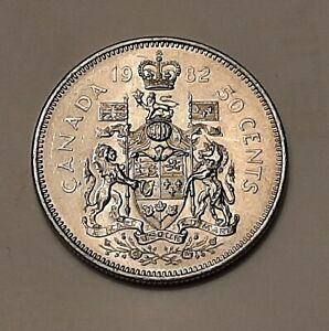 1982 CANADA 50 CENTS COIN  100  NICKEL    QUEEN ELIZABETH II