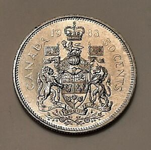 1983 CANADA 50 CENTS COIN  100  NICKEL    QUEEN ELIZABETH II