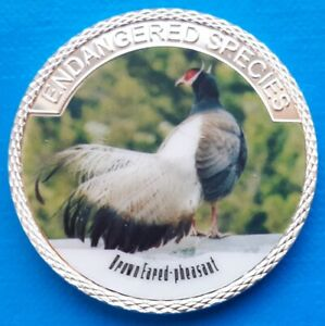 BROWN EARED PHEASANT   ENDANGERED ANIMAL SPECIES 40MM UNC COMMEMORATIVE COIN