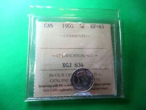 CANADA 5 CENTS 1905 EF45 BY ICCS .925 SILVER. HIGH GRADE BEATY.