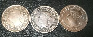 1859 1882 1895 ONE CENT CANADIAN  VICTORIA. NOT A LOT. PAY FOR EACH COIN.